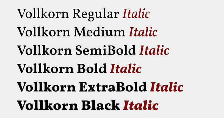 Vollkorn Serif- free font- Which Were The Very Best 20 Fonts In 2019