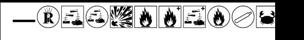 Hazard symbols Font UPPERCASE