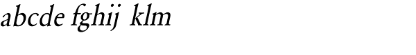 URW Garamond Extra Narrow Regular Oblique Font LOWERCASE